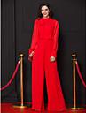 Coloană / Teacă Salopeta Gât Înalt Lungime Podea Șifon Bal / Seară Formală Rochie cu Arc Drapat Pliuri de TS Couture®