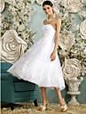 Linia -A In Formă de Inimă Lungime Tea Tulle Made-To-Measure rochii de mireasa cu Mărgele / Aplică / Nasture de LAN TING BRIDE®