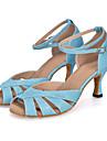 Pentru femei Pantofi Dans Latin Material elastic Sandale / Călcâi / Adidași Sclipici Strălucitor / Cataramă / Decupat Toc Flared Personalizabili Pantofi de dans Verde / Violet / Albastru Deschis