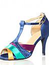 Pentru femei Pantofi Dans Latin / Pantofi Salsa Satin Sandale / Călcâi Cataramă / Decupat Toc Personalizat Personalizabili Pantofi de dans Albastru / Interior / Performanță / Antrenament