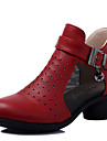 Damă Pantofi Dans Modern Piele Adidași Exterior Fermoare Toc Cubanez Negru Roșu Bej 5cm NePersonalizabili