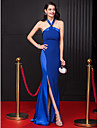 Sheath / Column Halter Neck Floor Length Chiffon / Stretch Satin Celebrity Style Prom / Formal Evening Dress with Split Front by TS Couture®