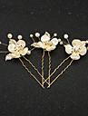 Femei Fata cu Flori Ștras Imitație de Perle Rășină Diadema-Nuntă Ocazie specială Ac de Păr 2 Piese