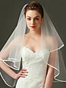 Voal de Nuntă Un nivel Voaluri Lungi Până la Cot Margine panglică Tulle