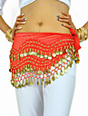 Belly Dance Belt Women\'s Training Chiffon Beading Coin Hip Scarf
