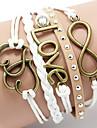Pentru femei Nit Bratari din piele Design Basic Iubire Inimă Multistratificat La modă Confecționat Manual costum de bijuterii Piele