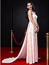 A-Linie Spaghetti-Traeger Hof Schleppe Chiffon Kleid mit Perlenstickerei / Kristall Verzierung durch TS Couture®