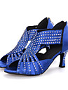 Pentru femei Pantofi Dans Latin Material elastic Sandale / Călcâi Piatră Semiprețioasă / Sclipici Strălucitor / Fermoar Toc Flared Personalizabili Pantofi de dans Negru / Rosu / Albastru / Piele