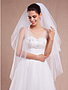 Two-tier Cut Edge Wedding Veil Blusher Veils Fingertip Veils 53 Ruched Tulle