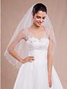 Voal de Nuntă Un nivel Voaluri Lungime Până la Vârfurile Degetelor Margine Tăiată Margine cu Mărgele Tul Alb Ivoriu