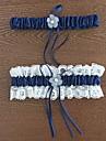 Jartieră Poliester Floare Dantelă Albastru