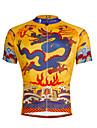 ILPALADINO Herr Kortärmad Cykeltröja - Gul / Svart Cykel Tröja, Snabb tork, UV-Resistent, Andningsfunktion Polyester