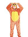 Kigurumi-pyjamas Tiger Onesie-pyjamas Kostym Polär Ull Orange Cosplay För Vuxna Pyjamas med djur Tecknad serie halloween Festival / högtid