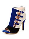Pentru femei Pantofi Lână Primăvară / Vară Pantofi Club Tocuri Toc Stilat Pantofi vârf deschis Cataramă Negru / Rosu / Albastru