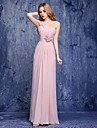 A-Line One Shoulder Floor Length Chiffon Bridesmaid Dress with Flower by LAN TING Express