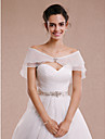 Sleeveless Tulle Wedding Party Evening Women\'s Wrap With Rhinestone Bowknot Capelets