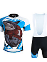 ILPALADINO Herr Kortärmad Cykeltröja med Haklapp-shorts - Svart Cykel Bib Shorts Tröja Klädesset, 3D Tablett, Snabb tork, UV-Resistent,