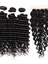 Brasilianskt hår Stora vågor Hårförlängning av äkta hår 4 delar Heta Försäljning 0.33
