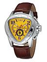 WINNER Ανδρικά Ρολόι Καρπού μηχανικό ρολόι Αυτόματο κούρδισμα Δέρμα Μαύρο Ημερολόγιο Αναλογικό Πολυτέλεια - Μαύρο Κίτρινο Κόκκινο / Ανοξείδωτο Ατσάλι
