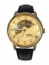 WINNER Bărbați Ceas de Mână ceas mecanic Mecanism automat Gravură scobită Piele Bandă Luxos Negru Auriu