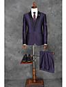 Violet Solid Fit Croit Poliester Costum - Vârf Un singur rând, un nasture