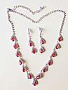 Pentru femei Set bijuterii - Argilă Include Colier / cercei Rosu Pentru Nuntă / Petrecere / Σκουλαρίκια / Coliere