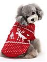 Kat Hond Truien Hondenkleding Rendier Rood Blauw Katoen Kostuum Voor Winter Heren Dames Houd Warm Kerstmis