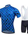 Fastcute Maillot et Cuissard a Bretelles de Cyclisme Homme Femme Enfant Unisexe Manches Courtes Velo Cuissard a bretelles Shirt Maillot