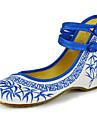 femei pantofi de panza primavara / vara / toamna Mary jane / confort de apartamente casual, catarama toc plat / floare albastru / verde