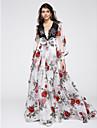 Linia -A Gât V Lungime Podea Organza Bal Seară Formală Rochie cu Dantelă Pană / Blană de TS Couture®