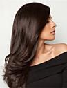 Dam Äkta peruker med hätta Brasilianskt Äkta hår Spetsfront Halvnät utan lim 130% Densitet Med lugg Rakt Peruk Naurlig färg Kolsvart