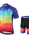 Miloto Maillot et Cuissard de Cyclisme Homme Manches Courtes Velo Cuissard / Short Shirt Maillot Collant a Bretelles/Corsaire Bretelles