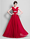 A-Line V Neck Floor Length Chiffon Mother of the Bride Dress with Beading Side Draping by LAN TING BRIDE®