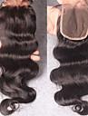 Kroppsvågor 100 % handbundet Schweizisk spetsperuk Äkta hår Fria delen Mittparti 3 Del