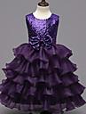 rochie de balet genunchi lungime floare fată rochie - organza fără mâneci gât de bijuterie cu volane de mii