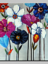 Oil Painting Hand Painted - Floral / Botanical Modern With Stretched Frame / Stretched Canvas