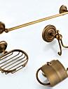Badrumstillbehörsset Antik Mässing 4pcs - Hotellbad Tvålkopp torn bar Robe Hook Toalettpappershållare
