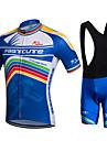 Fastcute Herr Dam Kortärmad Cykeltröja med Haklapp-shorts - Svart Cykel Bib Shorts Bib Tights Tröja Klädesset, 3D Tablett, Snabb tork,