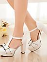 Pentru femei Pantofi Imitație de Piele Vară Tocuri Toc Îndesat Funde Alb / Roz / Albastru Deschis