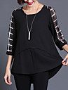Femei Rotund Bluză Casul/Zilnic Plus Size / Șic Stradă,Carouri ¾ Manșon Vară-Negru Subțire Mătase / Poliester