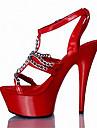 Mulheres Sandalias cruzadas Couro Envernizado / Materiais Customizados Verao / Outono Sapatos clube Sandalias Salto Agulha / Plataforma Presilha Branco / Prata / Vermelho / Festas & Noite