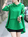 Femei Guler Cămașă Bluză Ieșire / Plus Size Simplu(ă) / Șic Stradă,Mată Manșon Lung Primăvară / Toamnă / Iarnă-Albastru / Negru / Verde