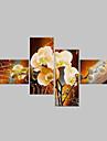 HANDMÅLAD Blommig/Botanisk Alla Form,Klassisk Moderna Fyra paneler Hang målad oljemålning For Hem-dekoration