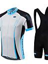 Fastcute Herr Kortärmad Cykeltröja med Haklapp-shorts - Svart Cykel Bib Tights / Tröja / Klädesset, Snabb tork, Andningsfunktion Coolmax®