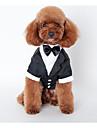 Hund Outfits Hundkläder Brittisk Svart Cotton Kostym För husdjur Herr Bröllop