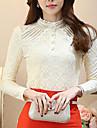 Femei Stand Bluză Muncă Plus Size,Mată Manșon Lung Primăvară-Roșu / Alb / Bej / Negru Mediu Poliester