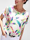 Dame Rotund Bluză Casul/Zilnic / Plus Size Simplu(ă),Imprimeu Manșon scurt Toate Sezoanele-Multi-color Subțire Poliester
