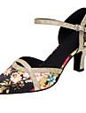 Damă Latin Modern Paillertte Satin Sandale Călcâi Profesional Înăuntru Cataramă Sclipitor Floare Toc Personalizat Negru Toc Personalizat