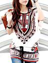 Femei Rotund Tricou Casul/Zilnic Simplu(ă),Imprimeu Manșon scurt Vară-Multi-color Subțire