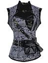 Pentru femei Cu Dantelă Corset peste Bust Plus Size PU Bumbac Modal Poliester Spandex Piele lăcuită Peteci Negru Gri
